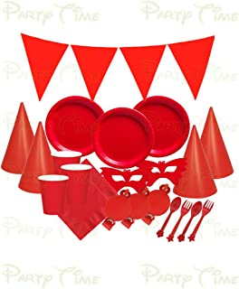 PARTY TIME - 49Pcs. Red Tableware's and Decorations Party Set - Serves 6 Persons