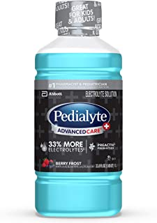 Pedialyte AdvancedCare+ Electrolyte Drink with 33% More Electrolytes and has PreActiv Prebiotics, Berry Frost, 1 Liter, 4 Count
