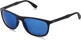 Ray-Ban Men's RB4291 Square Sunglasses, Matte Black/Blue Mirror, 58 mm