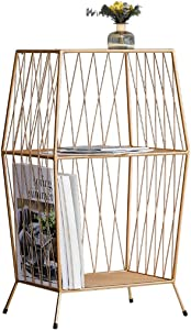 Dyl Magazine rack Floor rack Nordic wrought iron sofa bedroom modern minimalist living room small apartment creative small coffee table Color GOLD Size 69 37 5 40CM