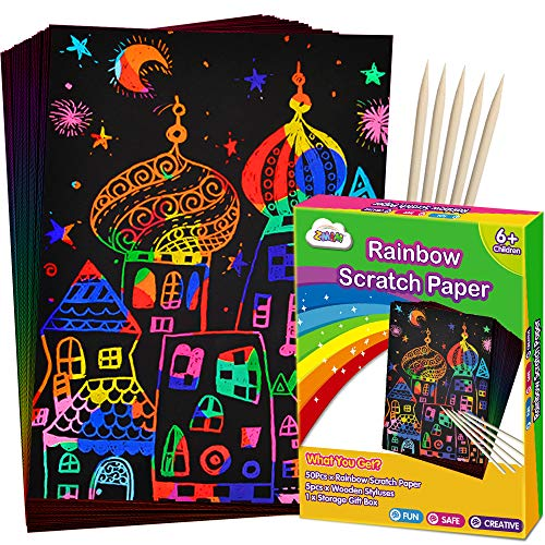 Brush Building Series Magic Scratch Art Paper Rainbow Landscape Engraving Art Mini Scratchboard DIY Pads for Adults and Kids 7.9x5.5 Crafts Set: 12 Sheets Scratch Postcard Cards /& Drawing Pens