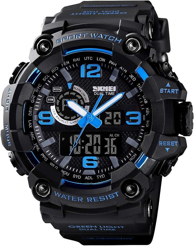 Men Digital Sports Watch Dual Time W Display LED 5 ☆ popular Wrist Long Beach Mall Military