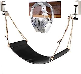 Auoinge Hamaca de escritorio con soporte para auriculares, reposapiés portátil duradero con abrazaderas de goma ajustables para la mayoría de escritorios