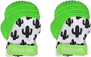 Munch Mitt Trendy Collection Teething Mitten- Original Mom Invented Teething Toy- Teether Stays on Babys Hand for Pain Relief- Ideal Baby Shower Gift with Handy Travel/Laundry Bag- 2 pk Green Cactus