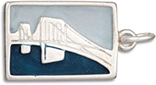 Sponsored Ad - Sterling Silver Mens Unisex 1.5mm Box Chain 3D Blue BROOKLYN BRIDGE USA Two Sided Post Card Pendant Necklace