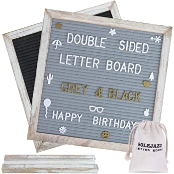Felt Letter Board 340 Characters Double Sided10×10 Wood Frame Red//Black