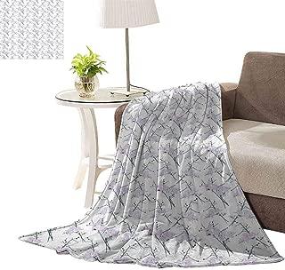 williamsdecor 380GSM Winter Thick Blanket, Thorny White Rose Bundle Pattern Design Blanket Super Soft Blanket Bed Warm Blanket Couch Blanket for All Season Dark, 70x90 Inch