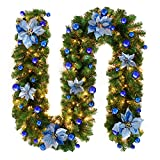 TDCQ Guirnalda de Navidad,Chimeneas Escaleras Guirnaldas Decoradas Luces,Guirnalda de Pino Artificial,Guirnalda de Navidad Artificial,Guirnalda Navideña Decorada (Azul)
