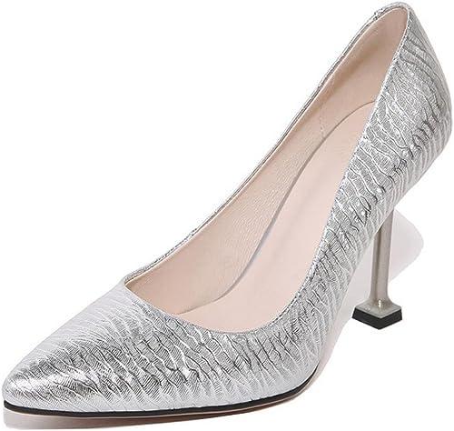 NVXIE mujeres Corte zapatos Tobillo Puntiagudo Dedo del pie Estilete Alto Talones rojo plata Moda Vestir Fiesta Hauszapatos Grande Tamaño 35-44