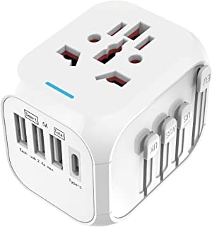 International Travel Adapter Universal Power Adapters with Auto Resetting Fuse European Plug Converter Worldwide 5A 3 USB with Type C Ports and AC Socket US to Europe for UK USA EU AUS Asia (White)