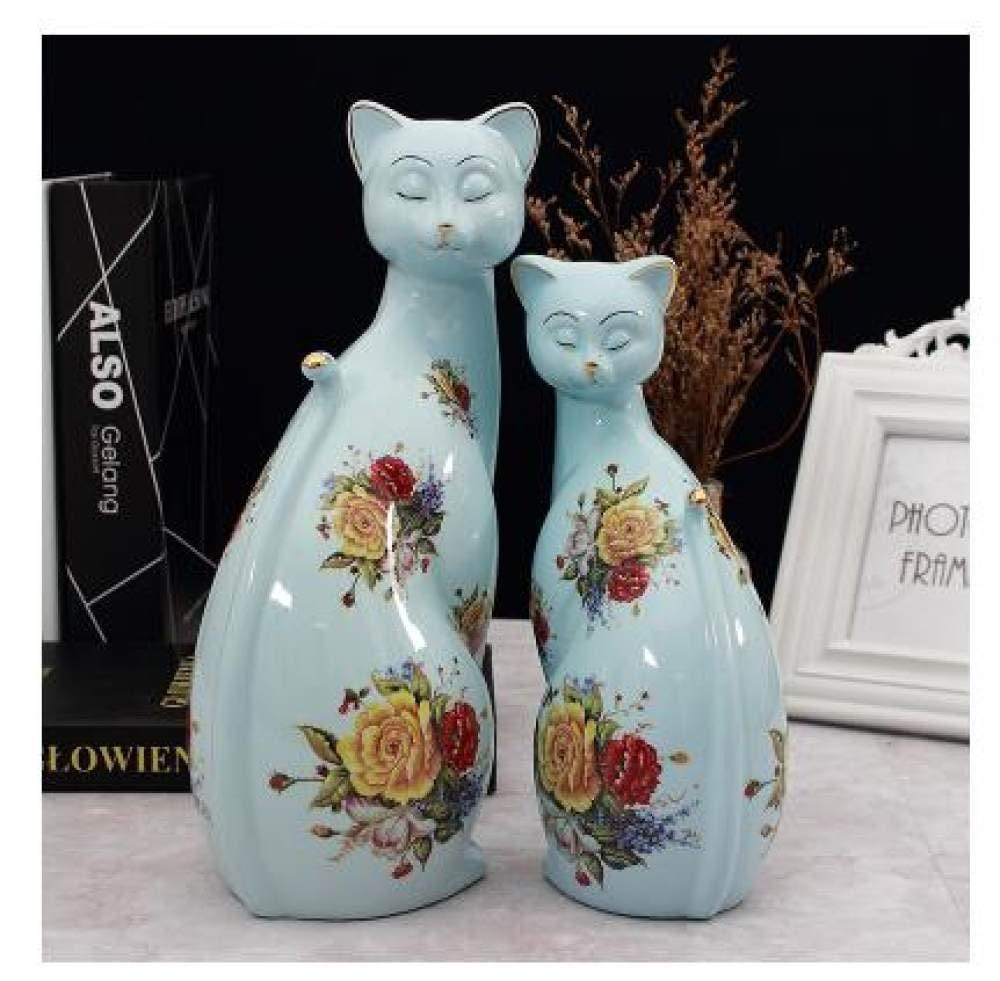 ZKYXZG Escultura Adornos creativos de cerámica para Gatos Decoración de la Sala de Estar en el hogar Manualidades Oficina Pareja Amantes Decoración de Muebles para Gatos Regalo de Boda, esti: Amazon.es: Hogar