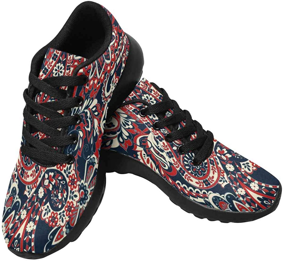 InterestPrint Womens Running Shoes Lightweight Sneakers Athletic Tennis Sport Shoes Floral Pattern with Paisley Ornament