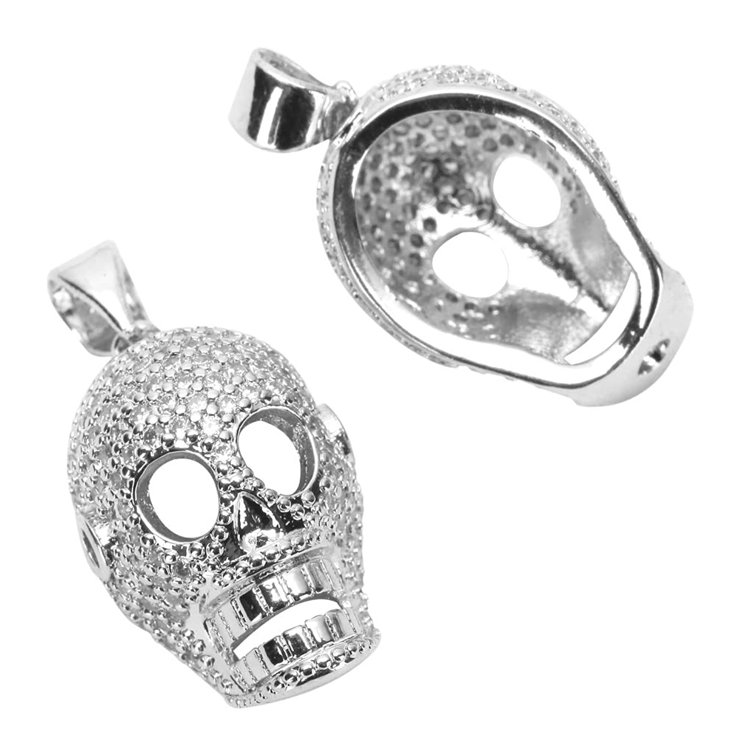 2pcs Top Quality Silver Dia De Muertos Day of the Dead Charm Skull Pendant with Diamond Simulants # MCAC39