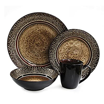 American Atelier 6203-16 Markham Square Casual Round Dinnerware Set – 16-Piece Stoneware Party Collection w/ 4 Dinner Salad Plates, 4 Bowls & 4 Mugs – Unique Gift Idea, 11x11x4, Brown