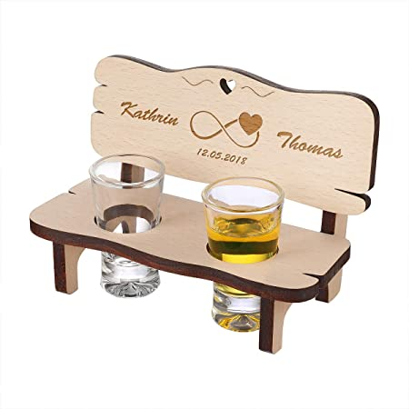 Panchina in legno personalizzabile con 2 bicchieri – regalo di alta qualità per matrimoni e coppie – idea regalo in legno – motivo infinito
