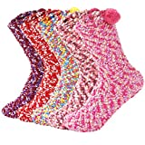 Zando Women Girls Winter Socks Cozy Slipper Socks Comfort Home Socks Super Soft Sleeping Socks Thick Colorful Crew Socks Warm Fuzzy Socks for Women 5 Pack Mixed Solid One Size