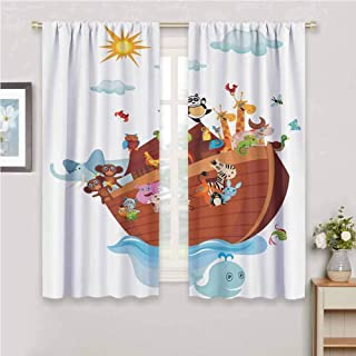 GUUVOR Noahs Ark Decor Collection Room Darkened Heat Insulation Curtain Noahs Ark Cartoon Snake Butterflies Bees Insects Fishes Toucan Wildlife Image Living Room W54 x L63 Inch White Blue