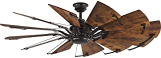 Springer Collection 60-Inch 12-Blade Distressed Walnut Coastal Windmill Ceiling Fan
