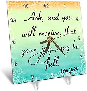 3dRose dc_150078_1 Bible Verse John 16-24 Gradient Pastel Bible Christian Inspirational Saying Desk Clock, 6 by 6