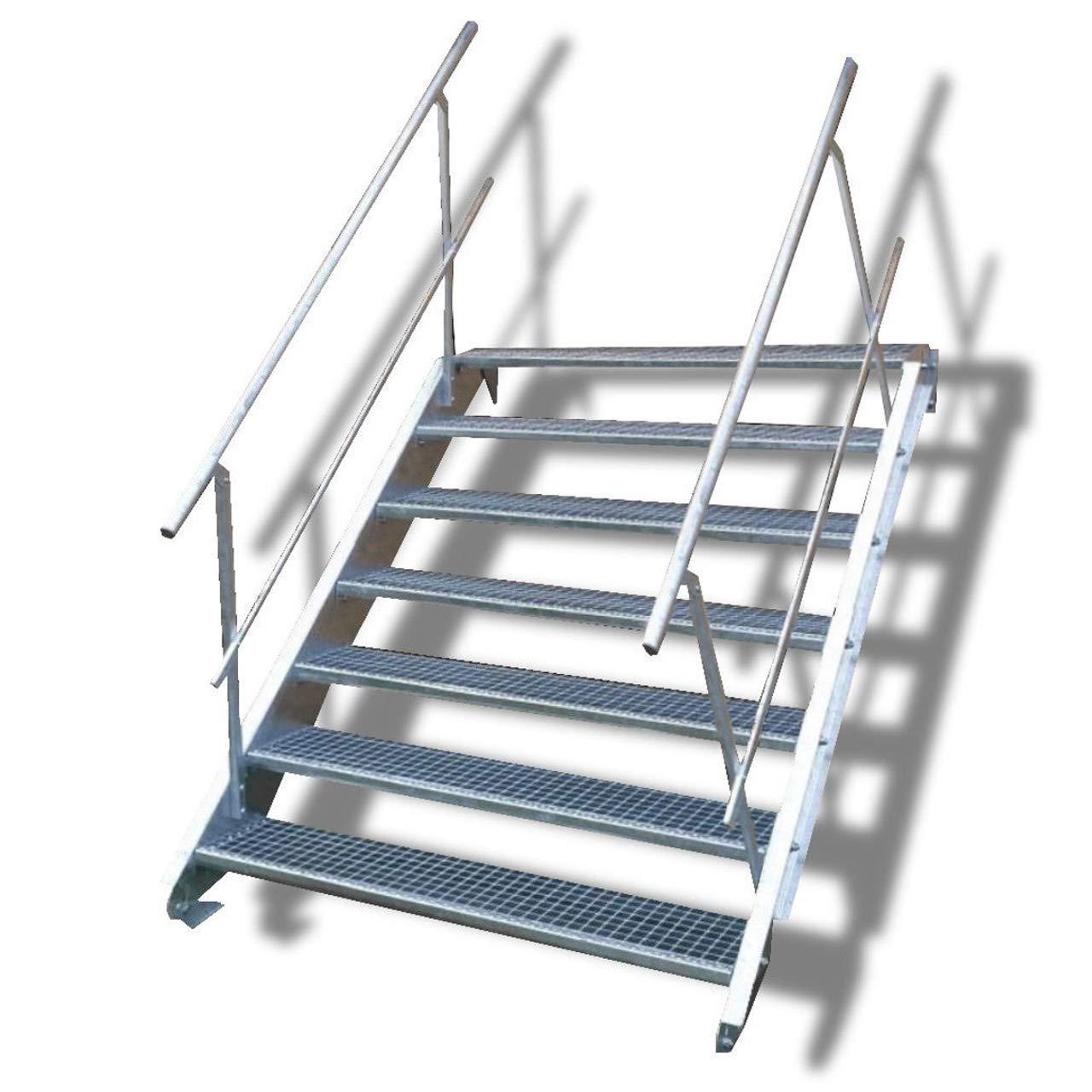 Escalera de acero de 7 peldaños con barandilla a ambos lados, altura de planta 100 – 140 cm (ancho de peldaños 110 cm).: Amazon.es: Bricolaje y herramientas