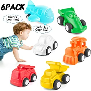HISTOYE Toddlers Cars Toy Trucks for 1 2 + Year Old Boy & Girls, 6 Pack Pull Back Cars for Toddlers, City Traffic Little Play Vehicles for Baby
