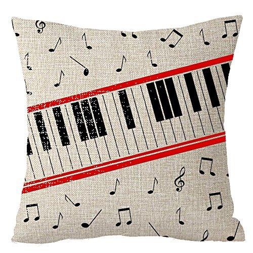 Kissen Deckblatt Musik Note Musikinstrumente Gitarre Piano Schwarz und Weiß Tastatur Überwurf Kissen Fall Baumwolle Leinen Material Dekorative 18X18Quadratisch