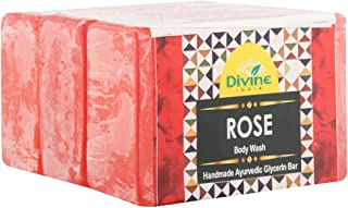Divine India Rose Soap - Gentle and Soft Skin - Herbal and Handcrafted - 125 Gm (Pack Of 3)
