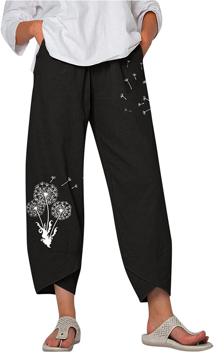 Uninevp Women Pants Casual Summer 2021 New Print Elastic Waist Pants Casual Baggy Jogger Workout Trousers with Pockets