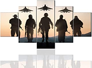 Mens Room Decor 5 Panel Military Canvas Native American Decor Army Troops Silhouettes Painting Pictures Artwork Wall Art Home Decor for Living Room Giclee Wooden Framed Ready to Hang (60''Wx32''H)