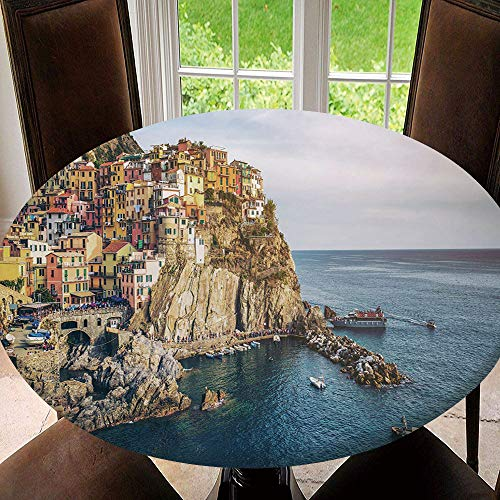 SUPNON Outdoor Tablecloth Spillproof Polyester Table Cover Vernazza, Panoramic View of Manarola Village for Patio Garden Tabletop Decor Diameter 47' Tablecloth (Fit for 35'-39' Table) AM032673