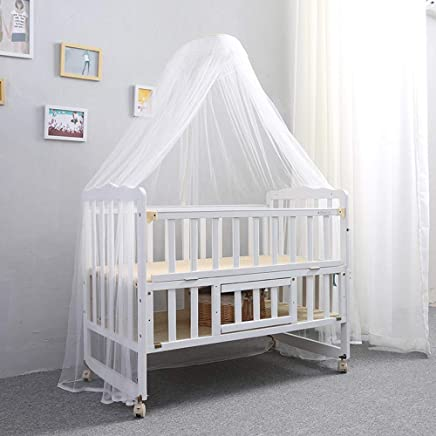ALBB White solid wood baby cot bed Multifunctional Crib with mosquito net cover bumper girl boy topper protector