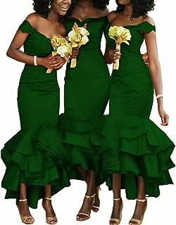 Dimei Mermaid Bridesmaids Dresses 2019 Off Shoulder Tea Length Prom Dresses Tiered Satin Wedding Party Dress