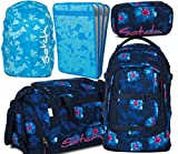 satch pack Waikiki Blue 5er Set Schulrucksack, Sporttasche, Schlamperbox, Heftebox & Regencape Blau