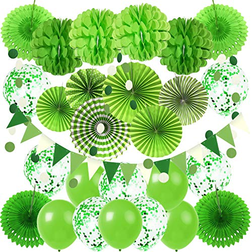 ZERODECO Party Hanging Paper Fans Set, Green Confetti Balloons Decorative Folding Fans Paper Pompoms Triangle Bunting Flags Garlands for Birthday Baby Shower Golf Dinosaur Party Decorations