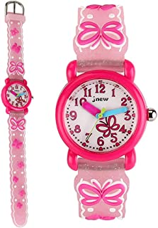 Boys Watches,TOPCHANCES Kids Students 3D Time Machines Time Teacher Analog Display Easy Read Wrist Watch Kids Quartz Watch with Rubber Band (Bowknot White)