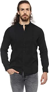 Mufti Men's Plain Slim Fit Casual Shirt (MFS-9447-G-01-BLACK_01-Black_XXL)