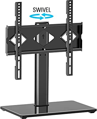 MOUNTUP Universal Swivel TV Stand for 27-55 inch TVs, Height Adjustable TV Table Stand with Tempered Glass Base, Table Top TV Stand Base Holds Up to 88lbs, Max VESA 400x400mm