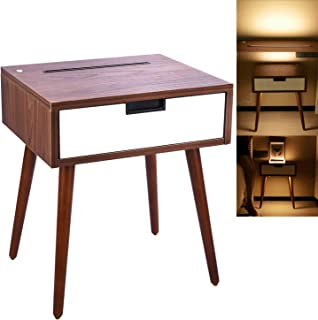 Frylr Nightstand End Table with Drawer, Bedside Tables with Infrared Sensor LED Night Light for Bedrooms, Living Room, Bed Sofa Side, Light Walnut and White
