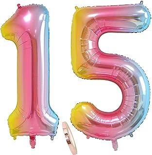 """globos numeros 15 años, globo número 15 arcoíris para niña niño infantil, 40"""" Figuras helio globo inflable gigante,grande iridiscentes colores rosados rosa decoración fiesta de cumpleaños (xxxl 100cm)"""