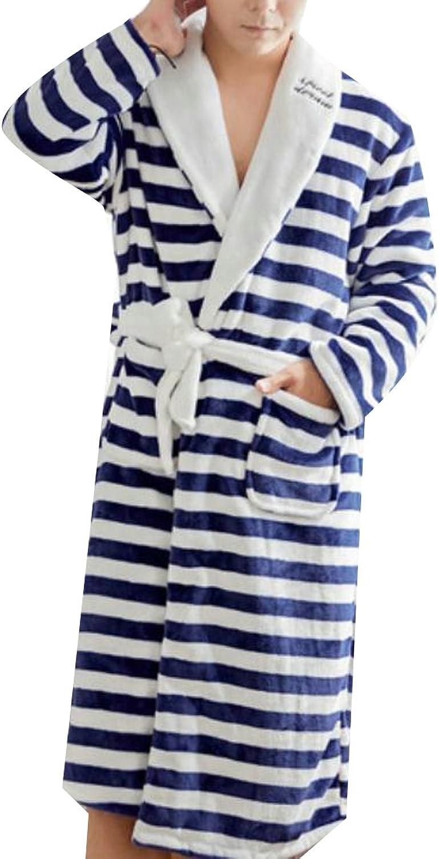 Pandapang Mens Kimono Bathrobe Stripe Long Sleeve Fleece Flannel Robe Sleepwear