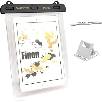 FINON【7-10インチ対応 WATERPOF CASE/防水ケース】防水ケース・専用ピック・ネックストラップ・キックスタンド付【iPad Pro9.7/Air/Air2/iPad/2/3/4・iPad mini/2/3/4/Xperia Z4 Tablet/Z3 Tablet Compact/Amazon Fire7/Fire HD8/ASUS Pad/Google Nexus/AQUOS PAD/Huawei MediaPad/Docomo dtab 記載以外も対応】