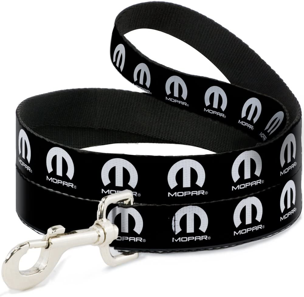 Buckle-Down Dog Leash Mopar Logo Repeat 6 5 popular Black White Feet Long Spring new work one after another