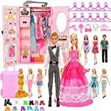 BM Closet Wardrobe 44 Pcs Doll Clothes Sets for Girl Dolls Ken Doll Clothes Outfit and Dress, Shoes, Bags, Necklace, Hangers, Trunk 11.5 inch Doll