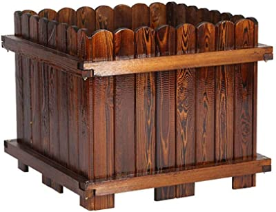 CJSWT Maceta, Flower Box Rectangular Garden Bed De Madera, Patio ...