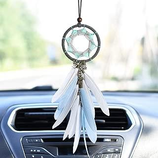 Dremisland Handmade Grey Feather Dream Catcher Car Interior Rearview Pendant Charm Car Hanging(Gray Circle)