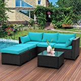 Outdoor PE Wicker Sofa Set 4-Piece 6-Seater Patio Garden Sectional Turquoise Cushions Seat Furniture Set, 2 L-Shaped Loveseats and Ottomans, Multi-Purpose Tempered Glass Coffee Table, Black Rattan