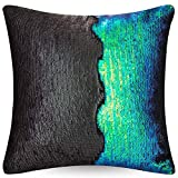 """URSKYTOUS Reversible Sequin Pillow Case Decorative Mermaid Pillow Cover Color Changing Cushion Throw Pillowcase 16"""" x 16"""",Fancy Green and Black"""