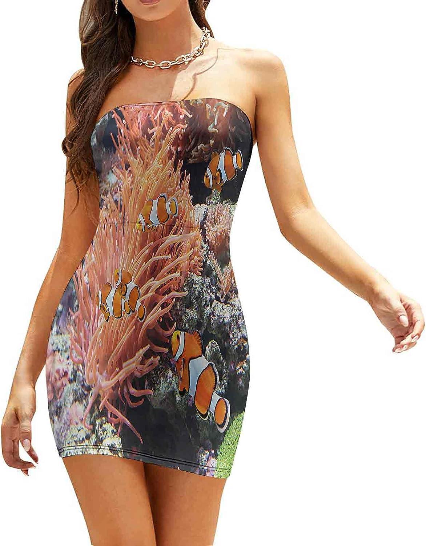Women's Strapless Bodycon Club Dress Sketch Style Marine Life Dresses