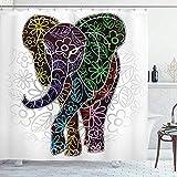 wobuzhidaoshamingzi Batik Duschvorhang, Digital Big Elephant mit Blumenlinien & Tribal Shapes Wild Life Theme