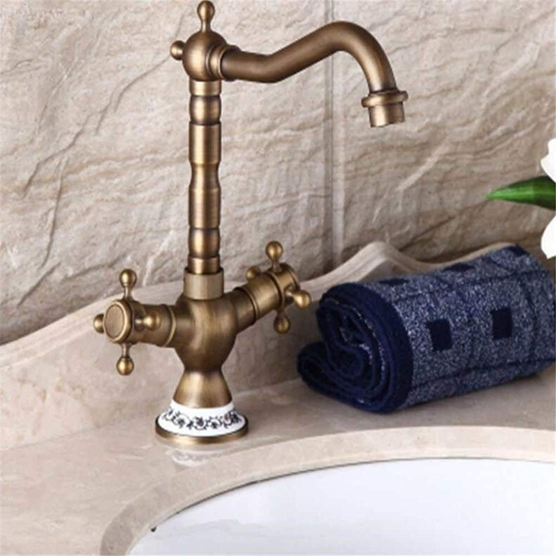 Basin Mixer Tap All-Copper European Hot and Cold Faucet Antique High Basin Mixer Double Basin Faucet